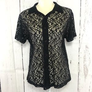 IMPRESSIONS SHORT SLEEVE LACE BLOUSE SIZE L